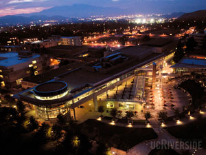 UCR HUB at night.